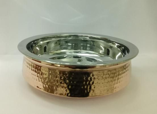 Copper Steel With Glass Lid Hammered Handi 02