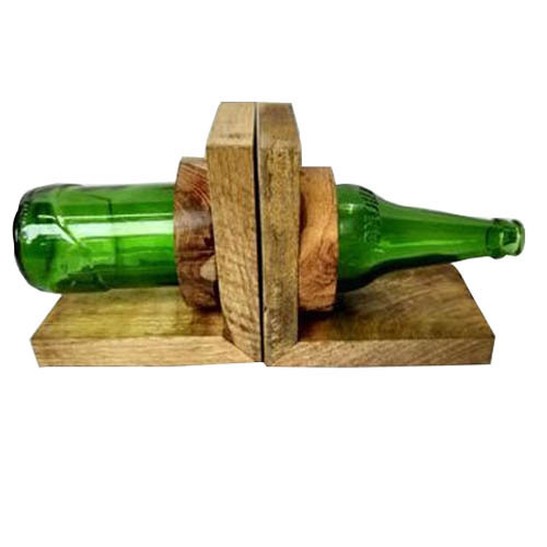 Wooden Bottle Shaped Bookend