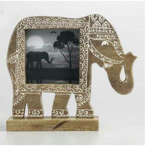 Wooden Elephant Shape Photo Frame