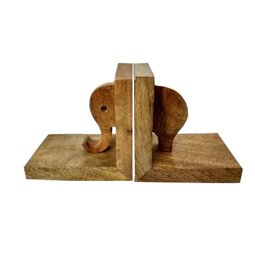 Wooden Elephant Shaped Bookend