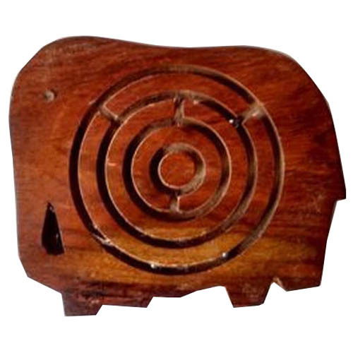 Wooden Elephant Shaped Maze Game