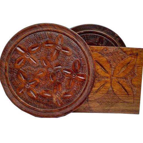 Wooden Flower Design Coaster
