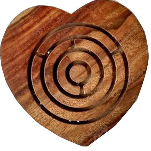 Wooden Heart Shaped Maze Game