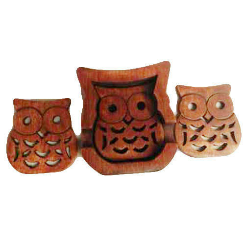 Wooden Owl Shaped Coaster