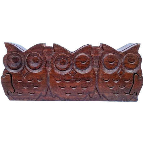 Wooden Rectangle Owl Shaped Puzzle Box