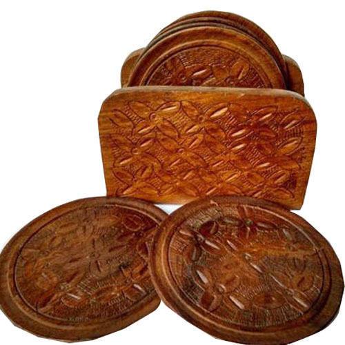Wooden Round Coaster Set