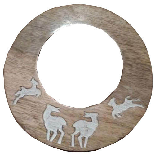 Wooden Round Polished Mirror Frame
