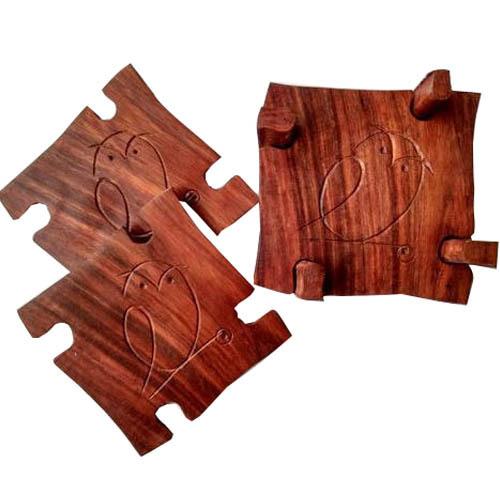 Wooden Sparrow Design Coaster Set