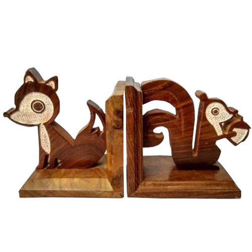 Wooden Squirrel Shaped Bookend