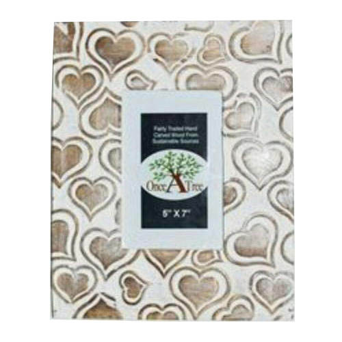 Wooden White Heart Design Photo Frame