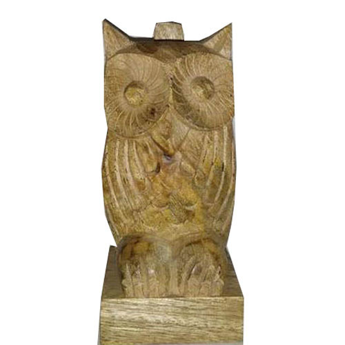 Wooden Yellow Owl Shape Spectacle Stand