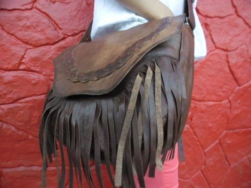 Handmade Leather Fringe Bag