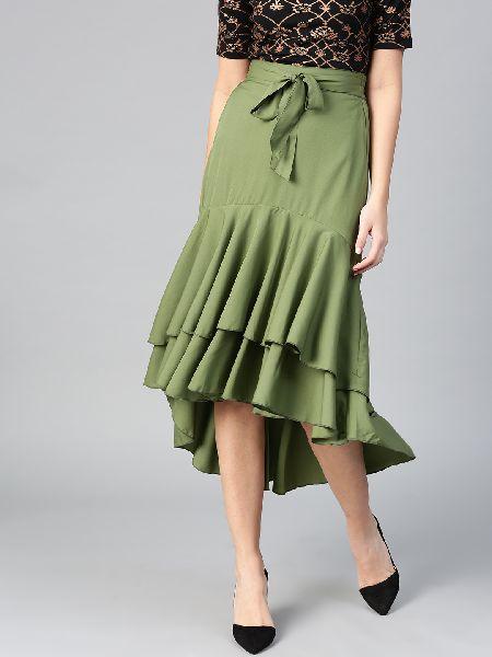 Ladies Green Short Skirt