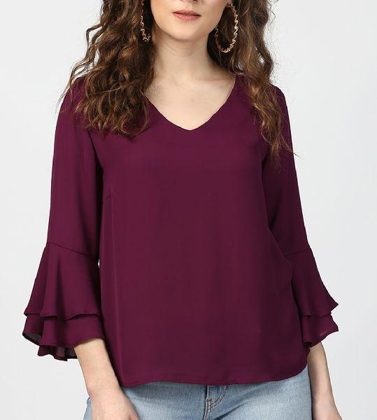Ladies Plain V Neck T-Shirts