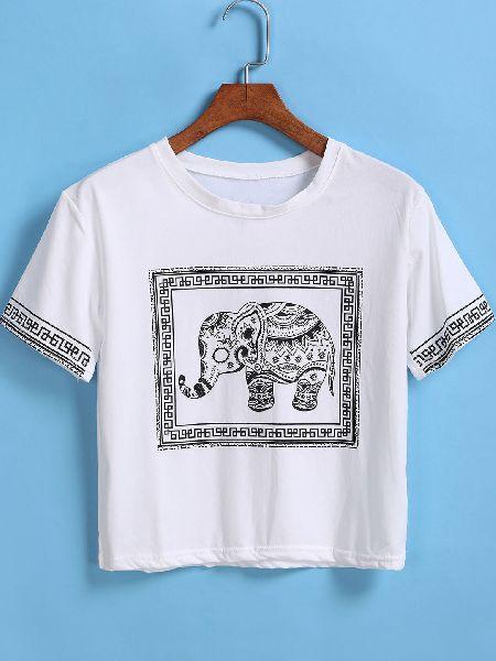 Ladies Printed Round Neck T-Shirts