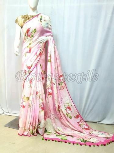 ccbc289748017f Digital Printed Linen Saree Manufacturer Supplier in Nadia India