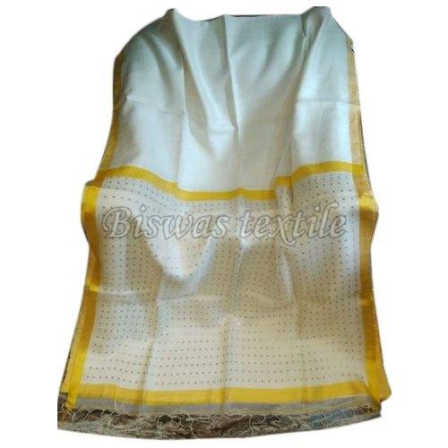 Ladies White Matka Silk Saree