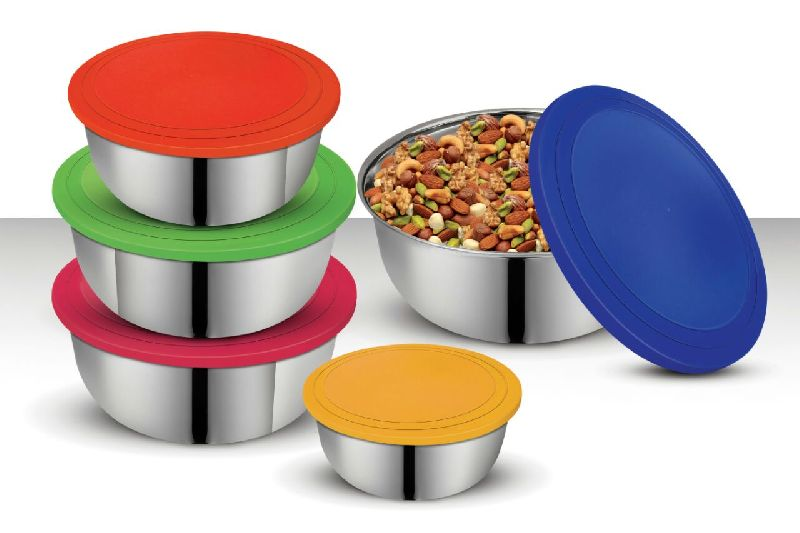 5 Pc Storage Set with Coloured Lids