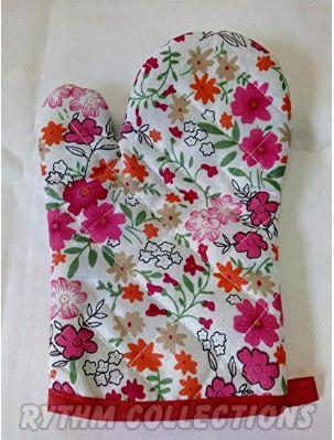 Multipurpose Fancy Floral designed Cotton Padded Kitchen Gloves