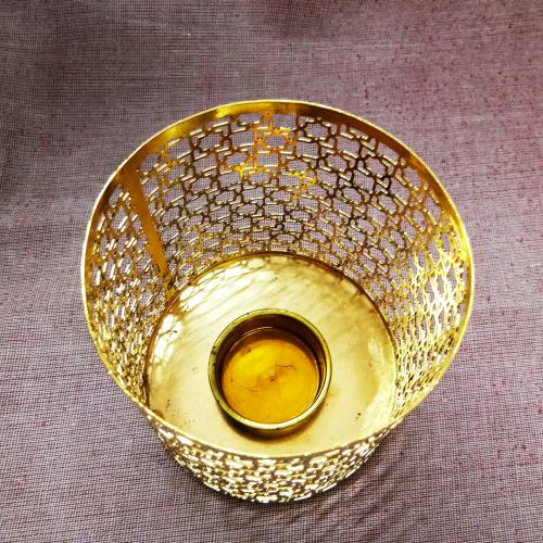 Gold Plated Tealight Candle Holder 02