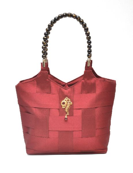 NHSB - 001 Ladies Bead Handle Silk Handbag