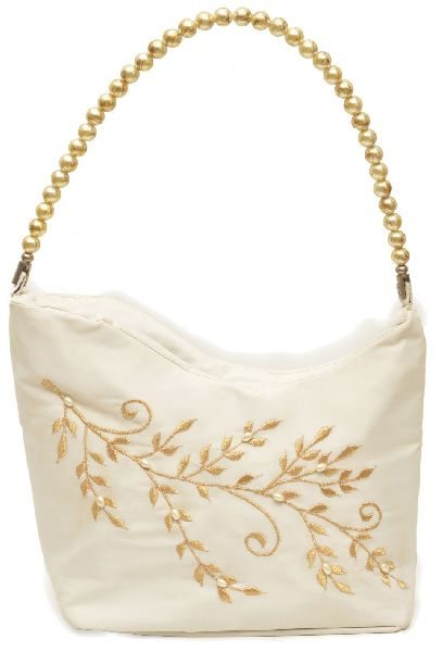 NHSB - 003 Ladies Bead Handle Silk Handbag