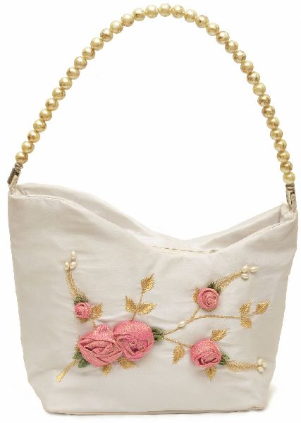 NHSB - 004 Ladies Bead Handle Silk Handbag