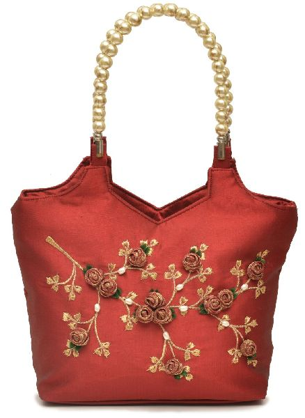 NHSB - 005 Ladies Bead Handle Silk Handbag