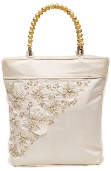 NHSB - 007 Ladies Bead Handle Silk Handbag