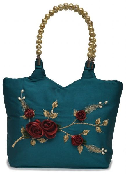 NHSB - 008 Ladies Bead Handle Silk Handbag