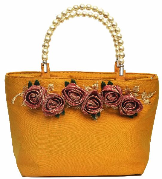 NHSB - 009 Ladies Bead Handle Silk Handbag