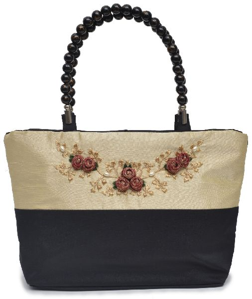 NHSB - 010 Ladies Bead Handle Silk Handbag