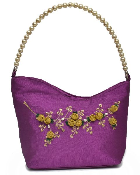 NHSB - 012 Ladies Bead Handle Silk Handbag