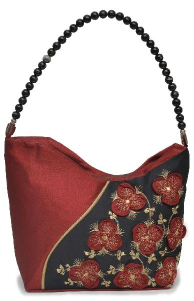 NHSB - 013 Ladies Bead Handle Silk Handbag