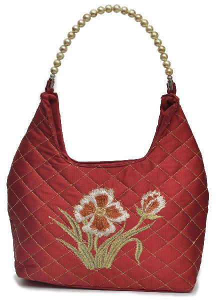 NHSB - 015 Ladies Bead Handle Silk Handbag