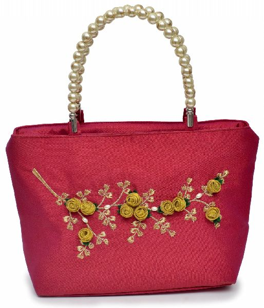 NHSB - 017 Ladies Bead Handle Silk Handbag