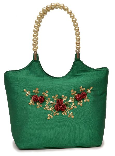 NHSB - 018 Ladies Bead Handle Silk Handbag