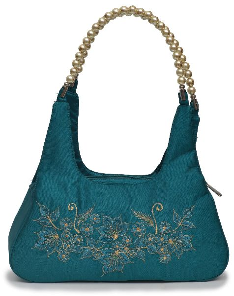 NHSB - 021 Ladies Bead Handle Silk Handbag