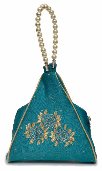 NHSB - 023 Ladies Bead Handle Silk Handbag