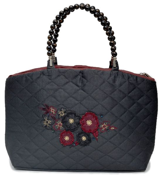 NHSB - 024 Ladies Bead Handle Silk Handbag