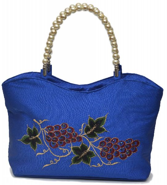 NHSB - 028 Ladies Bead Handle Silk Handbag