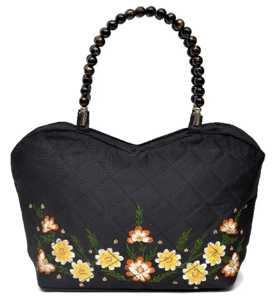 NHSB - 029 Ladies Bead Handle Silk Handbag