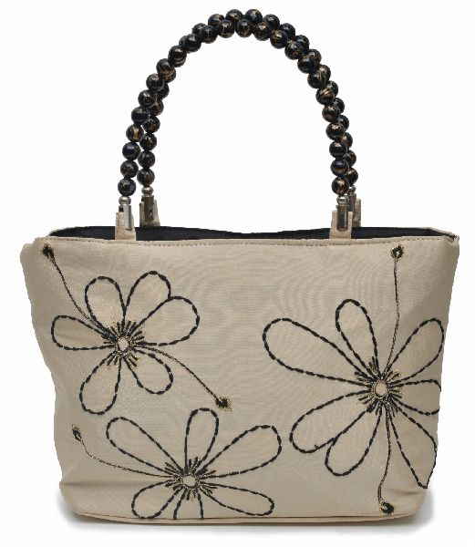 NHSB - 031 Ladies Bead Handle Silk Handbag