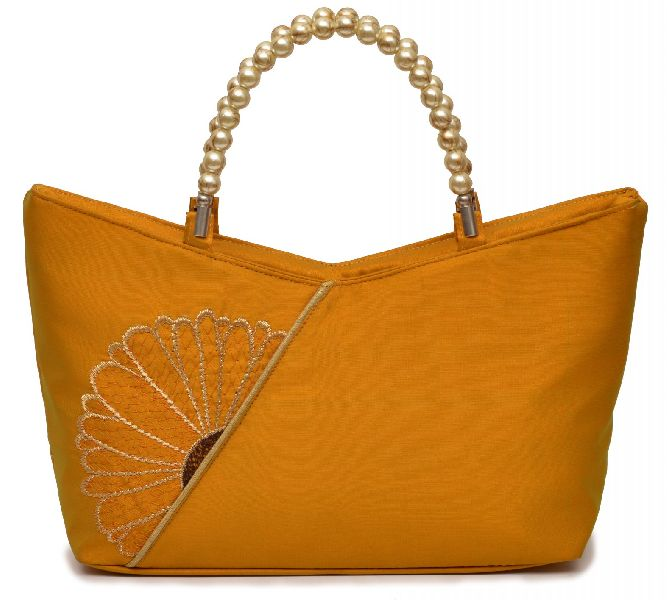 NHSB - 036 Ladies Bead Handle Silk Handbag