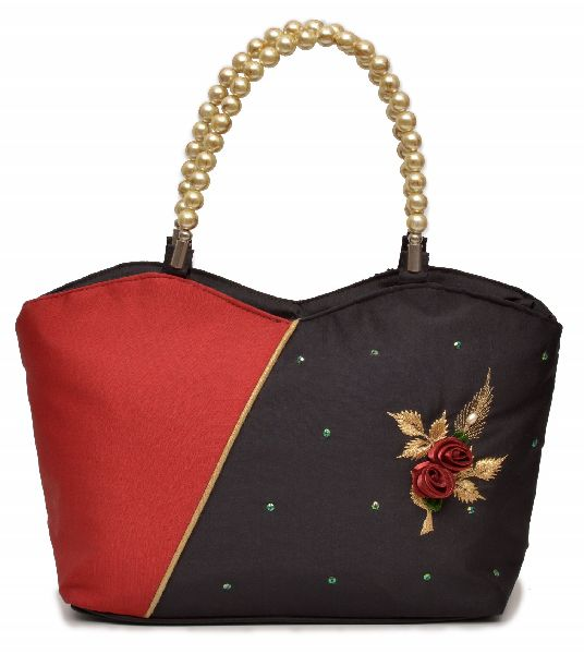 NHSB - 037 Ladies Bead Handle Silk Handbag