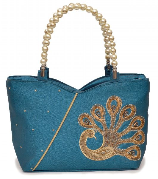 NHSB - 038 Ladies Bead Handle Silk Handbag