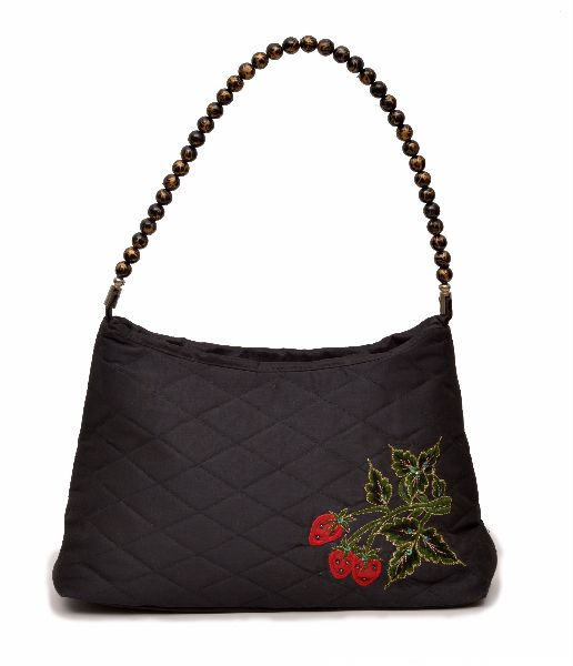 NHSB - 039 Ladies Bead Handle Silk Handbag