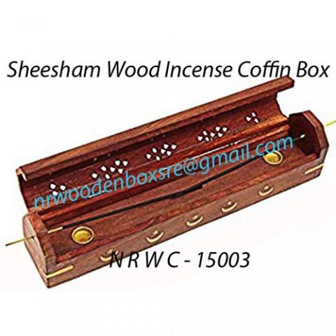 NRWC-15003 Sheesham Wood Incense Coffin Burner Box