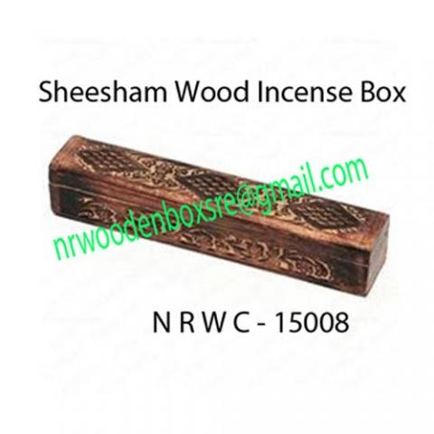 NRWC-15008 Sheesham Wood Incense Coffin Burner Box