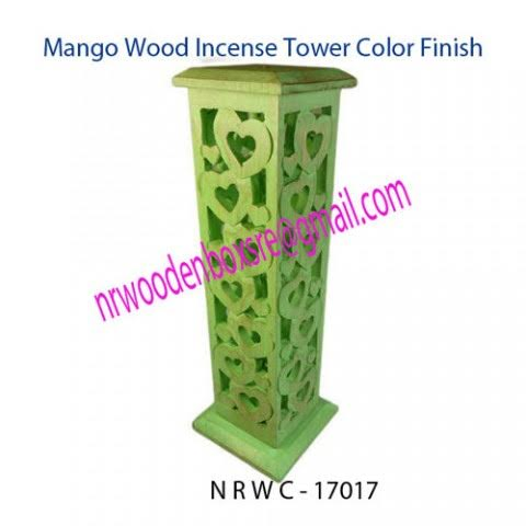 NRWC-17017 Mango Wood Hut Incense Tower